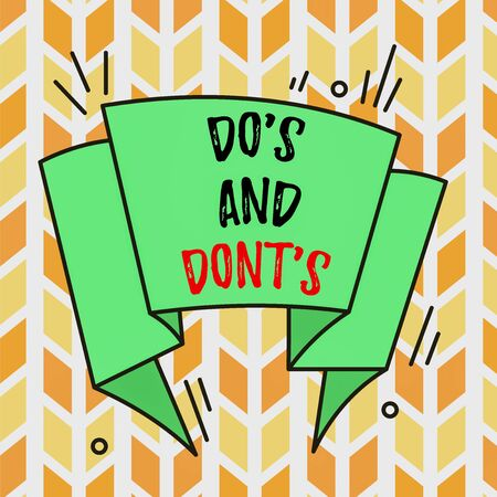 Text sign showing Do S And Don tS. Business photo text Rules or customs concerning some activity or actions Asymmetrical uneven shaped format pattern object outline multicolour design Фото со стока