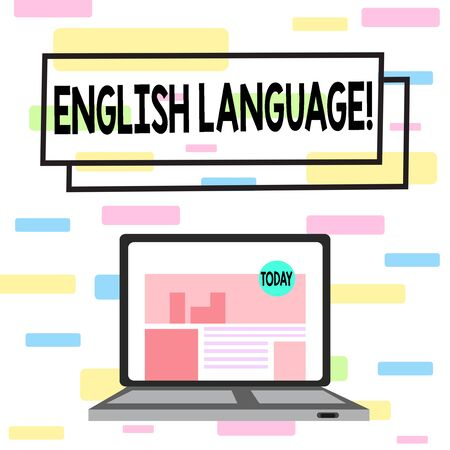 Writing note showing English Language. Business concept for third spoken native lang in world after Chinese and Spanish Laptop Switched On with Website Homepage Screen Web Search