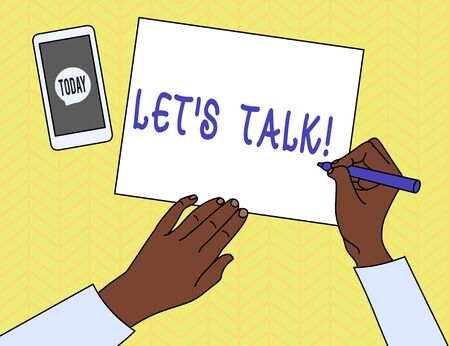 Conceptual hand writing showing Let S Talk. Concept meaning they are suggesting beginning conversation on specific topic Top View Man Writing Paper Pen Smartphone Message Icon Stock fotó