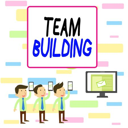 Writing note showing Team Building. Business concept for various types of activities used to enhance social relations SMS Email Marketing Media Audience Attraction PC Loudspeaker