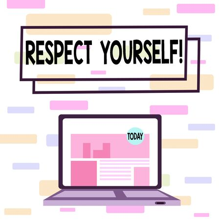 Writing note showing Respect Yourself. Business concept for believing that you good and worthy being treated well Laptop Switched On with Website Homepage Screen Web Search