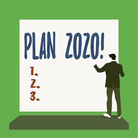 Handwriting text Plan 2020. Conceptual photo detailed proposal doing achieving something next year Short hair immature young man stand in front of rectangle big blank board