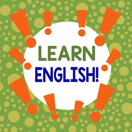 Writing note showing Learn English. Business concept for gain acquire knowledge in new language by study Asymmetrical uneven shaped pattern object multicolour design Stockfoto