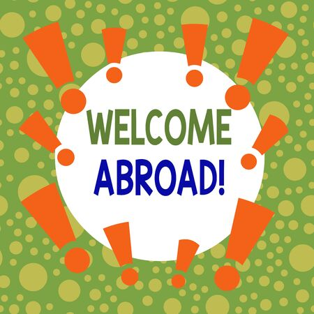 Writing note showing Welcome Abroad. Business concept for something that you say when someone gets on ship Asymmetrical uneven shaped pattern object multicolour design