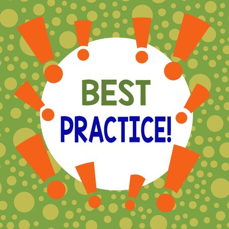 Writing note showing Best Practice. Business concept for commercial procedures accepted prescribed being correct Asymmetrical uneven shaped pattern object multicolour design