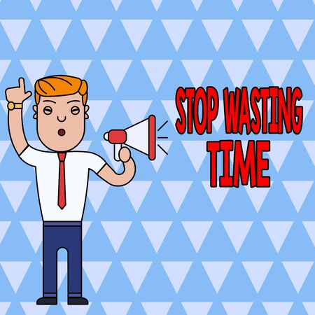 Conceptual hand writing showing Stop Wasting Time. Concept meaning advising demonstrating or group start planning and use it wisely Man Standing with Raised Right Index Finger with Megaphone