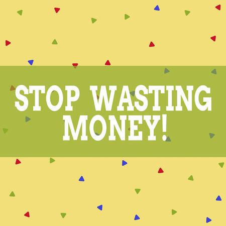 Writing note showing Stop Wasting Money. Business concept for advicing demonstrating or group to start saving and use it wisely Triangle Shape Confetti or Broken Glass Scattered Yellow Tone Stock fotó