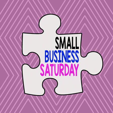 Signo de texto que muestra la pequeña empresa el sábado. Exhibición fotográfica de negocios americana festiva celebrada durante el sábado patrón de rombo concéntrico geométrico infinito contra el fondo lila Foto de archivo