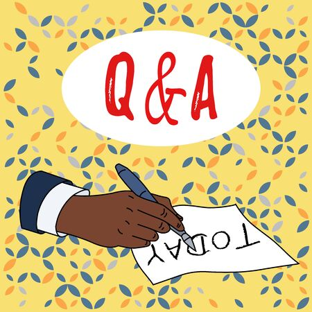 Conceptual hand writing showing Q And A. Concept meaning defined as questions being asked and answers Male Hand Formal Suit Holding Ballpoint Pen Piece of Paper Writing