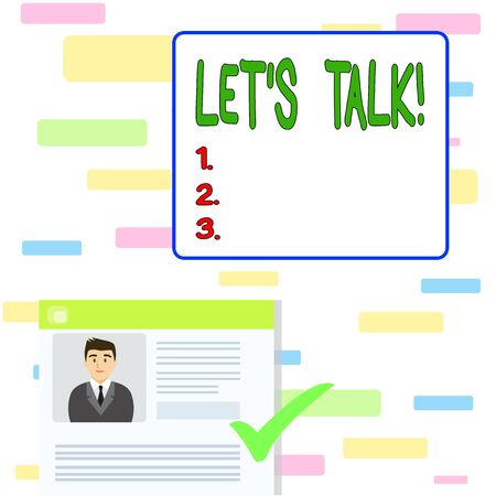 Writing note showing Let S Talk. Business concept for they are suggesting beginning conversation on specific topic Curriculum Vitae Resume of Candidate Marked by Color Mark