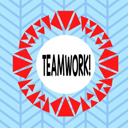 Text sign showing Teamwork. Business photo showcasing combined action of group especially when effective and efficient Asymmetrical uneven shaped format pattern object outline multicolour design 版權商用圖片