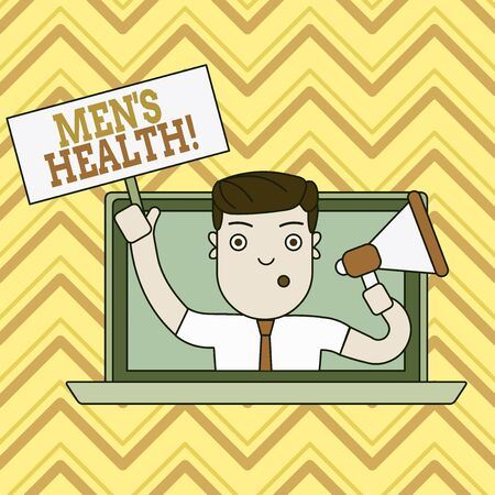 Conceptual hand writing showing Men S Health. Concept meaning state of complete physical mental and social well being by analysis Man Speaking Through Laptop into Megaphone Plate with Handle