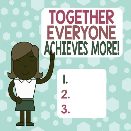 Writing note showing Together Everyone Achieves More. Business concept for Members create synergy with strong sense mutual commitment Woman Standing with Raised Left Index Finger Pointing at Blank Text Box