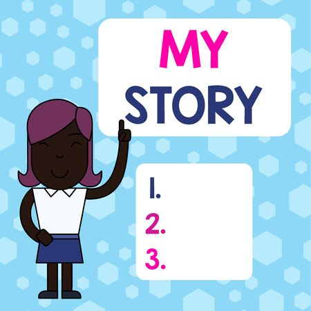 Writing note showing My Story. Business concept for the things or situations that have happened to someone in life Woman Standing with Raised Left Index Finger Pointing at Blank Text Box