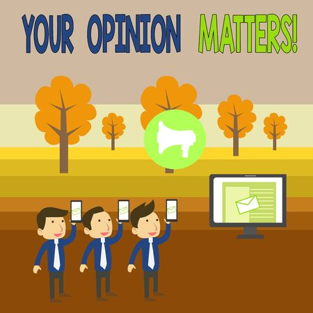 Writing note showing Your Opinion Matters. Business concept for show you do not agree with something that just been said SMS Email Marketing Media Audience Attraction PC Loudspeaker Foto de archivo