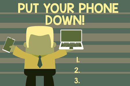 Word writing text Put Your Phone Down. Business photo showcasing end telephone connection saying goodbye caller Standing professional man tie holding left open laptop right mobile phone