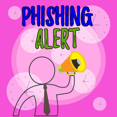 Conceptual hand writing showing Phishing Alert. Concept meaning aware to fraudulent attempt to obtain sensitive information Outline Symbol Man Loudspeaker Announcing Instructions