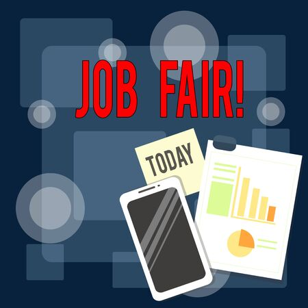 Writing note showing Job Fair. Business concept for event in which employers recruiters give information to employees Layout Smartphone Sticky Notes with Pie Chart and Bar Graph