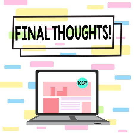 Writing note showing Final Thoughts. Business concept for the conclusion or last few sentences within your conclusion Laptop Switched On with Website Homepage Screen Web Search