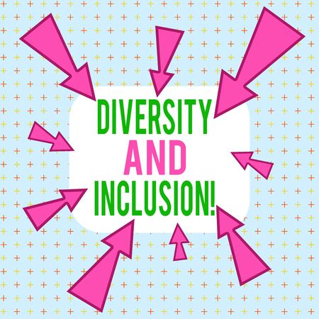 Conceptual hand writing showing Diversity And Inclusion. Concept meaning range huanalysis difference includes race ethnicity gender Asymmetrical uneven shaped pattern object multicolour design Stock Photo