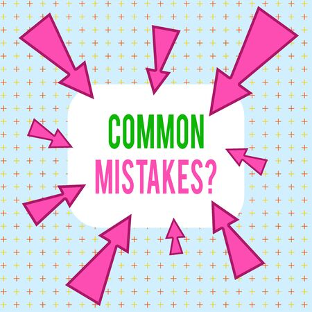 Conceptual hand writing showing Common Mistakes Question. Concept meaning repeat act or judgement misguided making something wrong Asymmetrical uneven shaped pattern object multicolour design