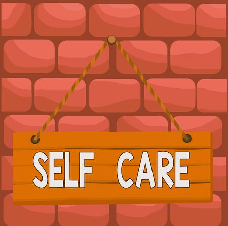Handwriting text Self Care. Conceptual photo the practice of taking action to improve one s is own health Wood plank nail pin string board colorful background wooden panel fixed