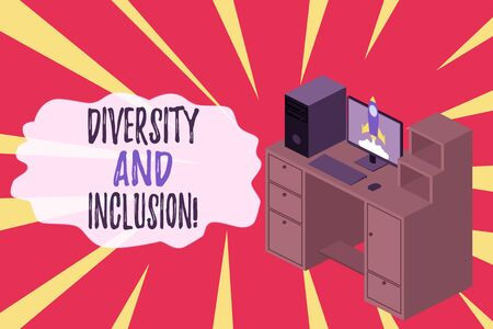 Word writing text Diversity And Inclusion. Business photo showcasing range huanalysis difference includes race ethnicity gender Working desktop station drawers personal computer launching rocket clouds