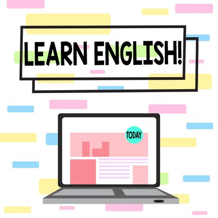 Writing note showing Learn English. Business concept for gain acquire knowledge in new language by study Laptop Switched On with Website Homepage Screen Web Search