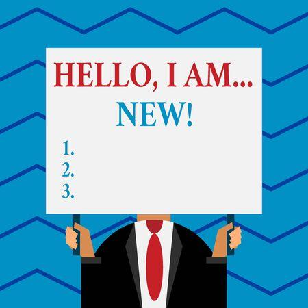 Parola di scrittura di testo Ciao io sono nuovo. Business photo vetrina per presentarsi in un gruppo come lavoratore fresco o studente Archivio Fotografico