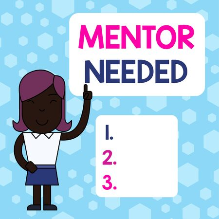 Writing note showing Mentor Needed. Business concept for wanted help for more experienced or more knowledgeable demonstrating Woman Standing with Raised Left Index Finger Pointing at Blank Text Box Stockfoto