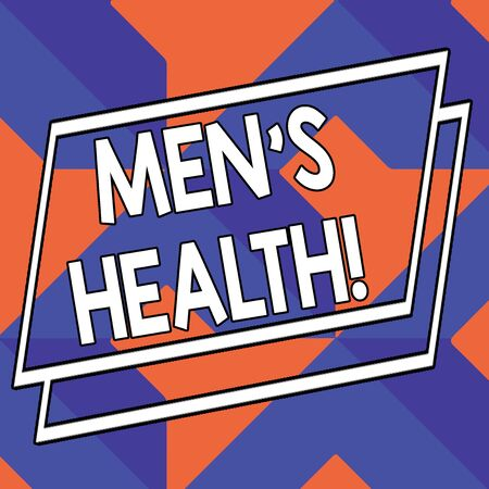 Word writing text Men S Health. Business photo showcasing state of complete physical mental and social well being by analysis Abstract Modern Design Diagonal Structure in Blue and Orange with Perspective