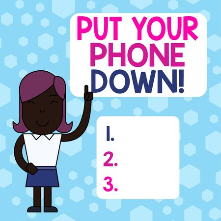 Writing note showing Put Your Phone Down. Business concept for end telephone connection saying goodbye caller Woman Standing with Raised Left Index Finger Pointing at Blank Text Box