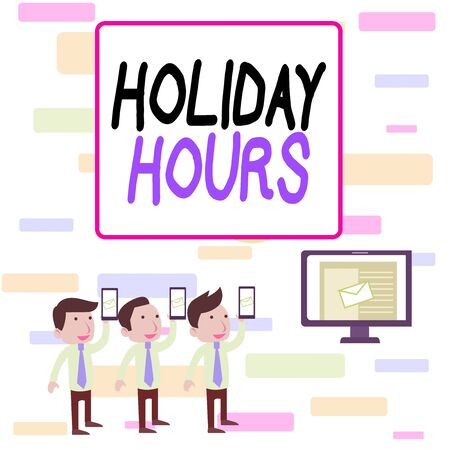 Writing note showing Holiday Hours. Business concept for employee receives twice their normal pay for all hours SMS Email Marketing Media Audience Attraction PC Loudspeaker