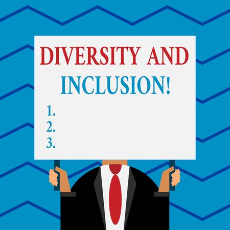 Word writing text Diversity And Inclusion. Business photo showcasing range huanalysis difference includes race ethnicity gender Old fashioned way to pick people at airport hold big board with two hands