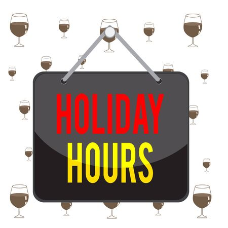 Text sign showing Holiday Hours. Business photo showcasing employee receives twice their normal pay for all hours Colored memo reminder empty board blank space attach background rectangle Stock Photo