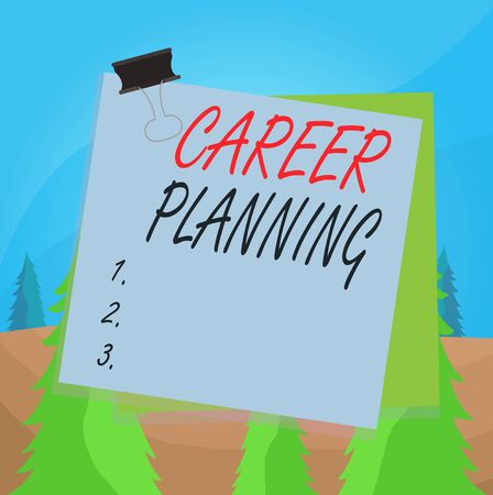 Word writing text Career Planning. Business photo showcasing Strategically plan your career goals and work success Paper stuck binder clip colorful background reminder memo office supply