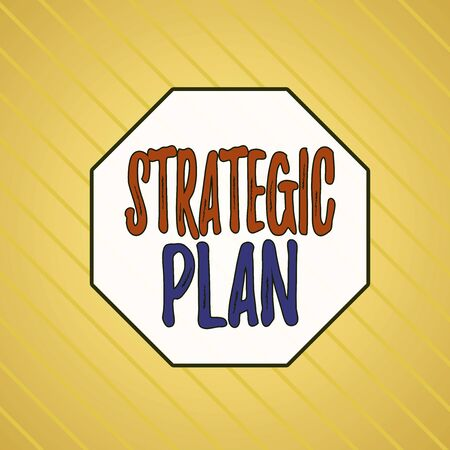 Writing note showing Strategic Plan. Business concept for a systematic process of envisioning a desired future Infinite Diagonal Pattern Stripes Slanting Lines Matching Background