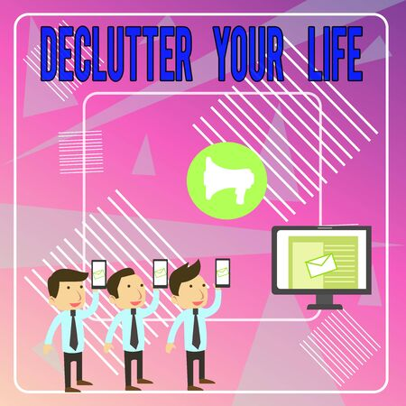 Word writing text Declutter Your Life. Business photo showcasing To eliminate extraneous things or information in life SMS Email Marketing Media Audience Attraction Personal Computer Loudspeaker Stok Fotoğraf