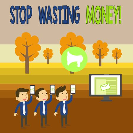 Writing note showing Stop Wasting Money. Business concept for advicing demonstrating or group to start saving and use it wisely SMS Email Marketing Media Audience Attraction PC Loudspeaker Stock fotó