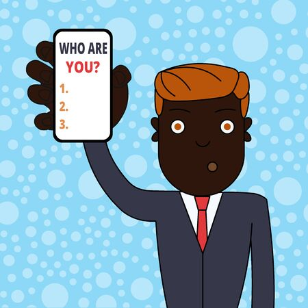 Conceptual hand writing showing Who Are You question. Concept meaning someone asking your demonstratingal background or history Man Holding Vertical Smartphone Device Screen for Attention