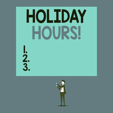 Writing note showing Holiday Hours. Business concept for employee receives twice their normal pay for all hours Short hair cut man stand in front audience with board