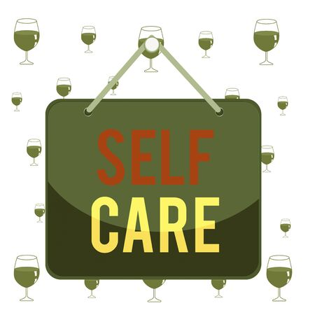 Text sign showing Self Care. Business photo showcasing the practice of taking action to improve one s is own health Colored memo reminder empty board blank space attach background rectangle Stock fotó