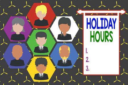 Conceptual hand writing showing Holiday Hours. Concept meaning employee receives twice their normal pay for all hours Picture frames CEO and staff Organization employee structure Stock fotó