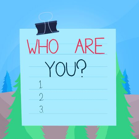 Word writing text Who Are You Question. Business photo showcasing asking about someone identity or demonstratingal information Paper lines binder clip cardboard blank square notebook color background