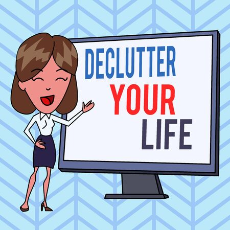 Writing note showing Declutter Your Life. Business concept for To eliminate extraneous things or information in life White Female in Standing Pointing Blank Screen Whiteboard Presentation