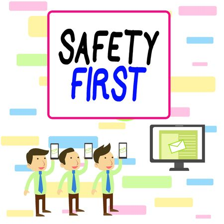 Writing note showing Safety First. Business concept for used to say that the most important thing is to be safe SMS Email Marketing Media Audience Attraction PC Loudspeaker