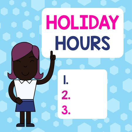 Writing note showing Holiday Hours. Business concept for employee receives twice their normal pay for all hours Woman Standing with Raised Left Index Finger Pointing at Blank Text Box Stock fotó