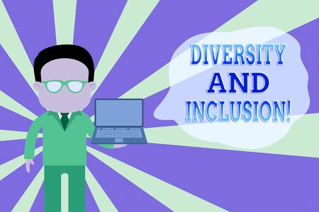 Word writing text Diversity And Inclusion. Business photo showcasing range huanalysis difference includes race ethnicity gender Standing man in suit wearing eyeglasses holding open laptop photo Art