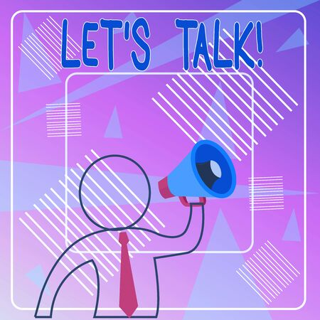 Handwriting text Let S Talk. Conceptual photo they are suggesting beginning conversation on specific topic Outline Symbol Man Loudspeaker Making Announcement Giving Instructions