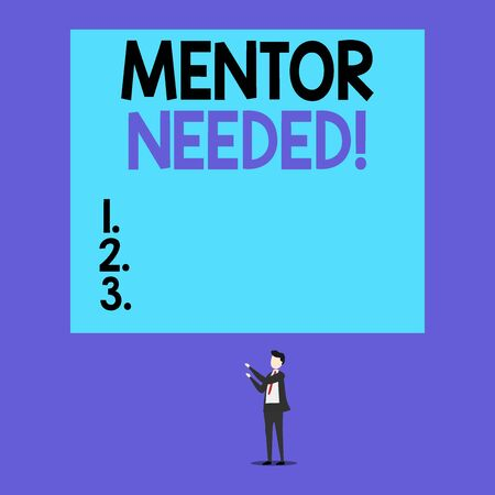 Writing note showing Mentor Needed. Business concept for Employee training under senior assigned act as advisor Short hair cut man stand in front audience with board